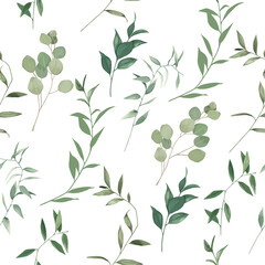 Printed roller blinds Pattern Organic herbal seamless pattern with eucalyptus branches. Greenery print on white background. Vector illustration