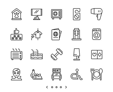 hotel facility and service line icons set