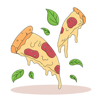 Pizza slice vector cartoon illustration. Italian fast food with melted cheese and pepperoni and basil leaves.