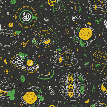 Breakfast dishes seamless pattern on the blackboard. Morning food chalk drawing illustration