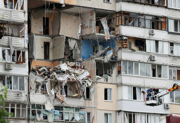 A view shows a damaged apartment block following a suspected gas explosion, in Kyiv