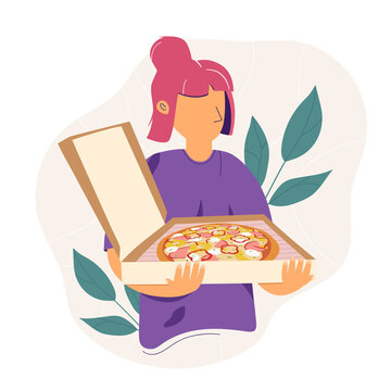 Pizza delivery woman with tasty pizza. Fast food delivery. Flat vector illustration