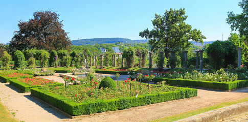 public Rosenstein park at the hill, Stuttgart, with fountain and rose flowers