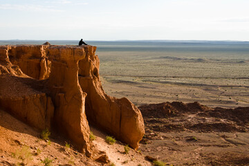 Sandstone formations of Bayanzag (Flaming Cliffs) is archeological dinosaur dig site in south Gobi desert, Mongolia