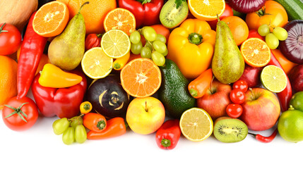Wall Mural - Big collection multi-colored juicy vegetables and fruits isolated on white background.
