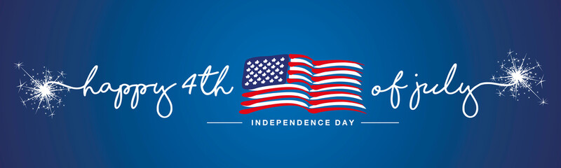 Photo sur Aluminium Echelle de hauteur Happy 4th of july Independence day firework handwritten typography text USA abstract wavy flag blue background banner