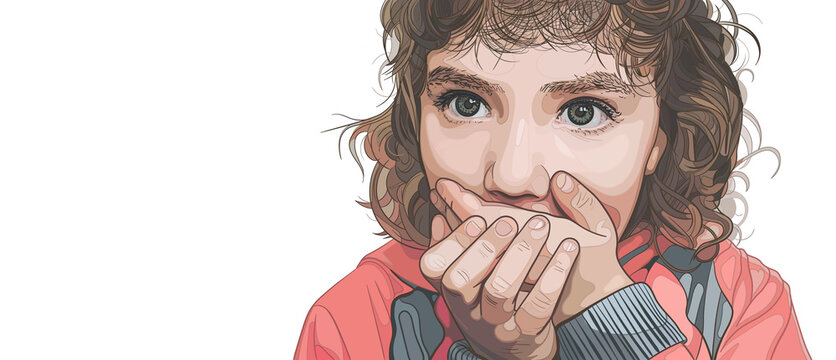 Little girl with curly hair covered her mouth with her hands. Child surprised or scared. Vector illustration on the white background. Concept of domestic violence, stuttering and secret. Copy space.