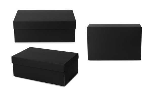 Set of black shoe box mockup isolated on white background with clipping path, Packaging template.
