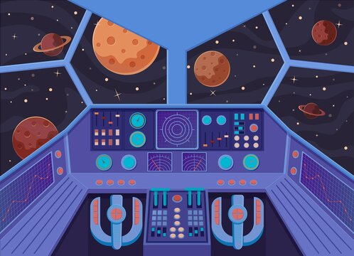 Interior spacecraft. Futuristic look from cockpit of star destroyer open space planets right on course journey to unknown solar system advanced technologies settling mining vector resources.