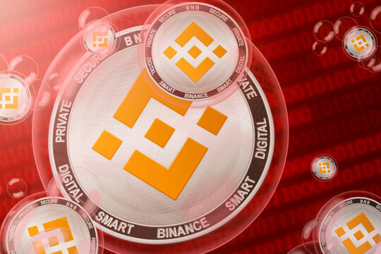 Binance coin crash; Binance coins in a bubbles on the binary code background. Close-up