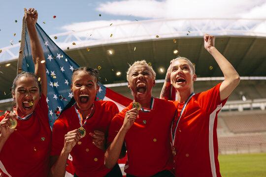 American women soccer team winning a championship