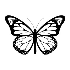 Vector Illustrations of butterfly silhouette icon on white background