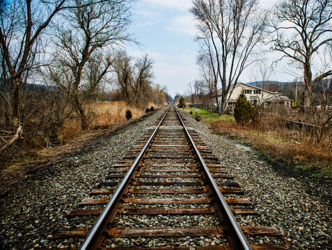 Empty train tracks in Autumn, New York state