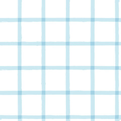 Blue Gingham seamless pattern. watercolor stripes, tartan texture for spring picnic table cloth, shirts, plaid, clothes, dresses, blankets, paper. vector checkered summer paint brush strokes.