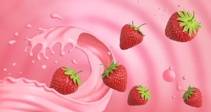 Strawberry Milk Splash background, 3d rendering.