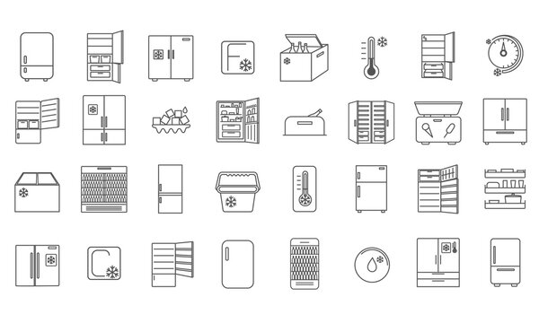 Large collection of 32 refrigerator icons showing different designs of fridge, cooler box and thermometers in black and white vector line drawings