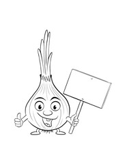 Funny, retro onion cartoon character in Lineart isolated on white holding a blank sign and giving thumbs up