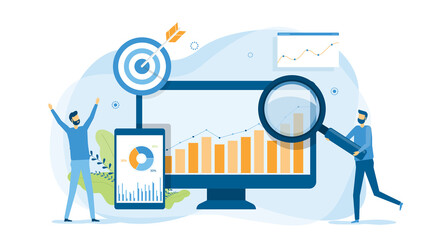 business people analytics and monitoring on web report dashboard monitor concept and vector illustration design for web landing banner background  Fotobehang