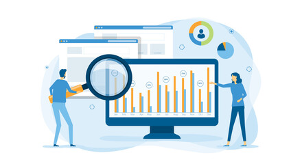 flat business people working analytics and monitoring research on web report dashboard monitor and vector illustration design banner concept for website traffic analytics