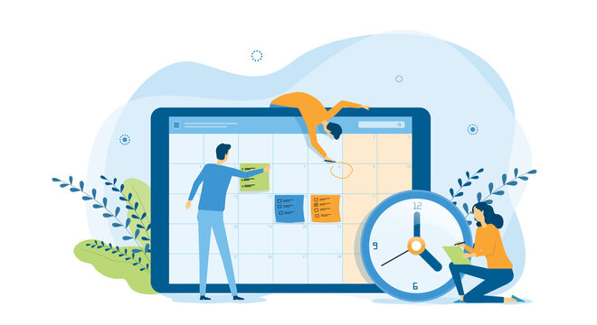 flat design concept people team working for business schedule planning with online calendar  and vector illustration design for web landing banner background concept