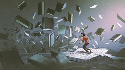 Photo sur Aluminium Grandfailure boy standing on the opened book and looking at other books floating in the air, digital art style, illustration painting
