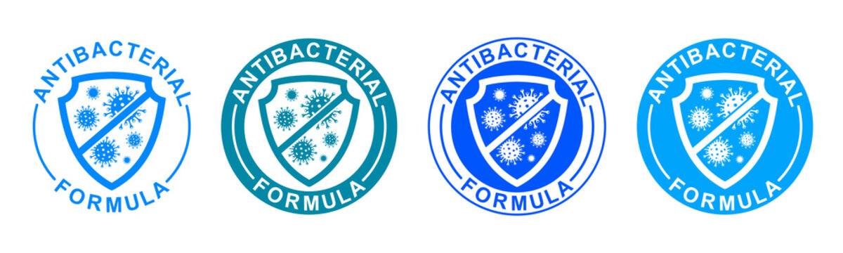 Antibacterial formula set icons, shield with crossed bacteries inside. Covid coronavirus clean hygiene medical protection anti bacterial  shield label - stock vector