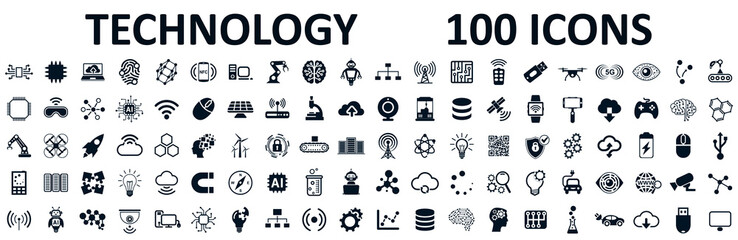 Set of 100 technology icons. Industry 4.0 concept factory of the future. Technology progress: 5g, ai, robot, iot, near field communication, programming and many more - stock vector Fotobehang