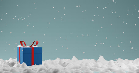 Render with gift box and falling snowflakes