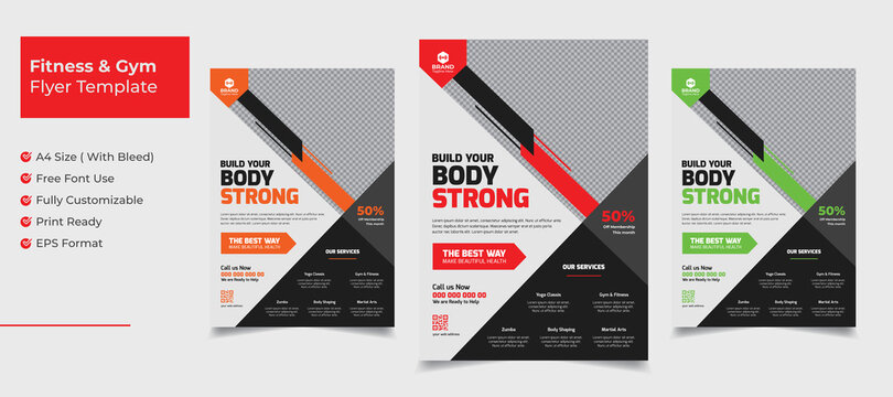 Creative abstract fitness and gym flyer template with orange red green color variation