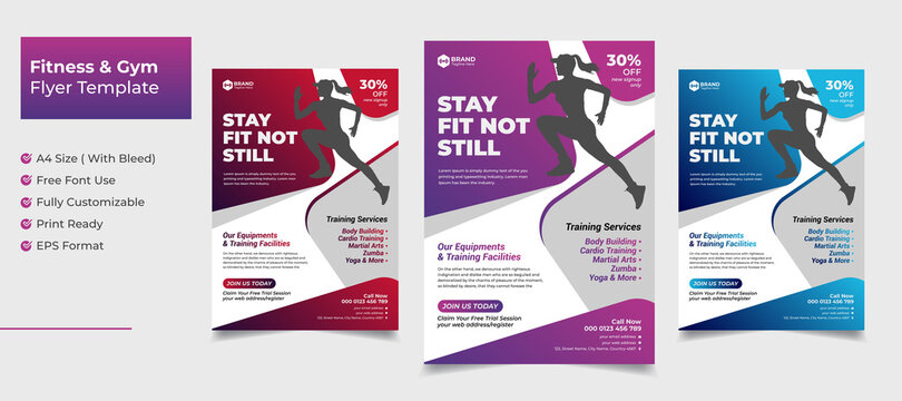 Creative abstract fitness and gym flyer template with red pink blue gradient color variation