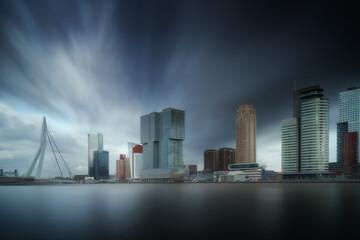 Foto auf Acrylglas Rotterdam Rotterdam city skyline cityscape, Netherland (Holland). View of downtown and Erasmus bridge