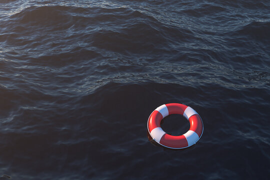 Life buoy on the ocean surface, 3d rendering.