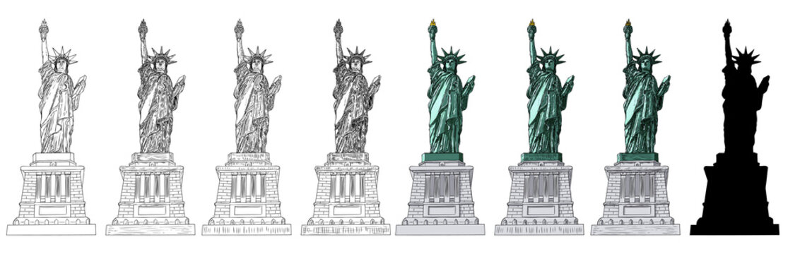 Statue of liberty set in different styles. Illustration of various drawings. Hand drawn line cross hatching, stroke, color, black white sketch and silhouette flat. New York and USA landmark. Vector.