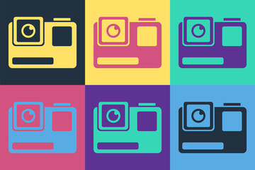 Pop art Action extreme camera icon isolated on color background. Video camera equipment for filming extreme sports.  Vector Illustration