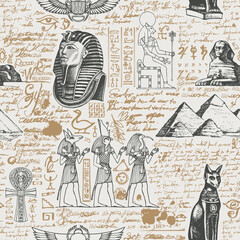 Ancient Egypt seamless pattern with hand-drawn Egyptian gods and unreadable scribbles in retro style. Vector abstract repeating background. Suitable for Wallpaper, wrapping paper, fabric