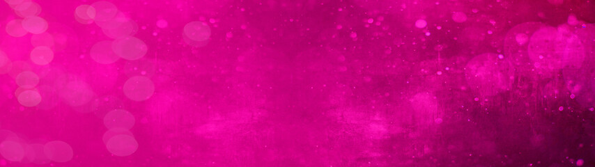 Obraz Abstract festive celebration template texture background banner panorama - Pink magenta bokeh lights isolated on pink magenta paper texture, with space for text - fototapety do salonu