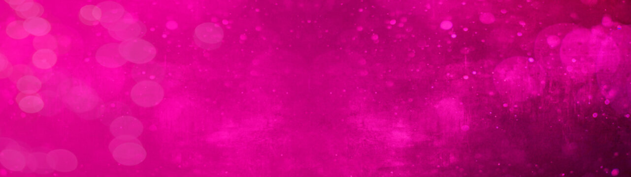 Abstract festive celebration template texture background banner panorama - Pink magenta bokeh lights isolated on pink magenta paper texture, with space for text