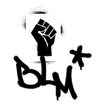 Raised fist spray paint graffiti stencil and BLM abbreviation BLACK LIVES MATTER quote. Anti-racist movement.
