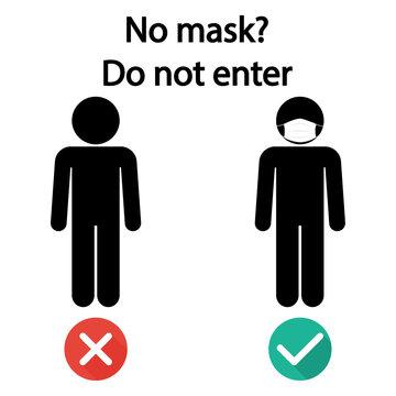 "Banner ""no mask? do not enter"". Wear face mask sign and symbol"