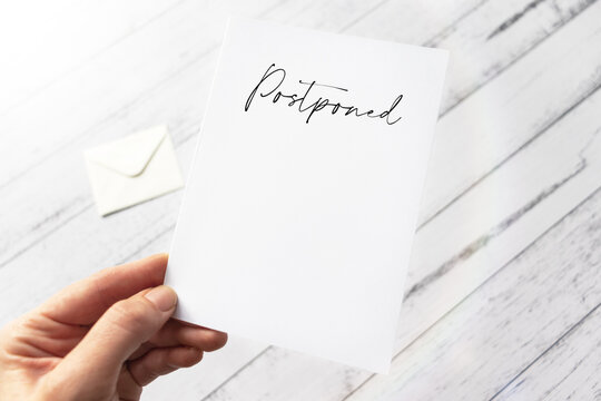 Wedding or party postpone announcement - Postponed occasion card