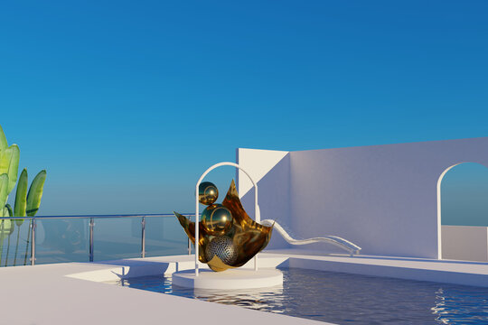 3D rendering scene high land water pool place with abstract sculpture arts. Blender 2.9 app