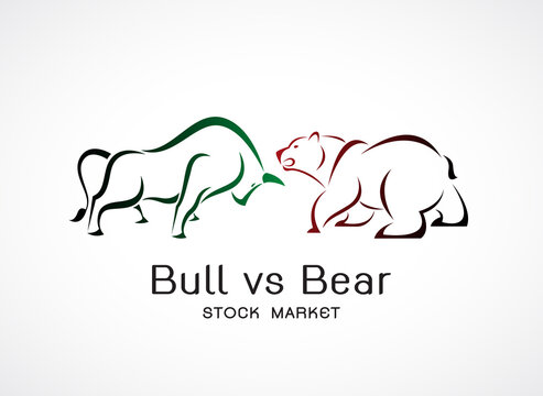 Vector of bull and bear symbols of stock market trends. Stock market and business concept. The growing and falling market. Wild Animals.