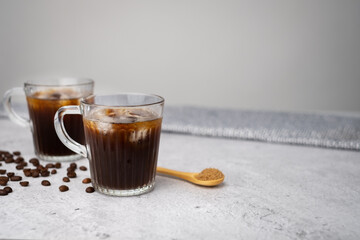 ice black coffee. cold refreshment with brown sugar.