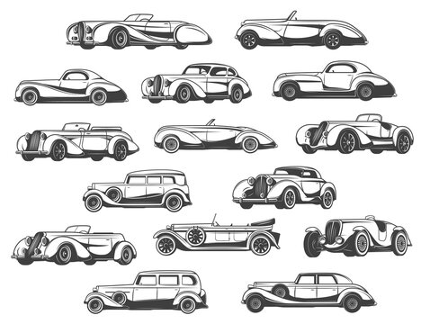 Retro cars set vintage classic antique auto, automobile vehicle models vector icons. 1950s, 1960s and 1930s retro cars models, convertible coupe and luxury limousine, cabriolet and roadster sportcar