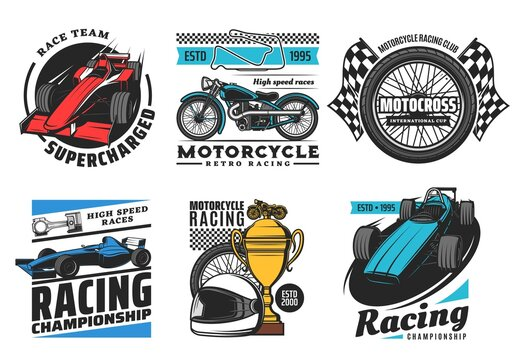 Racing and motorsport icons, motorcycle and car rally races, speedway and motocross vector emblems. Motor sport races club team, tournament cup, wheel, sportcar racetrack and finish flag signs