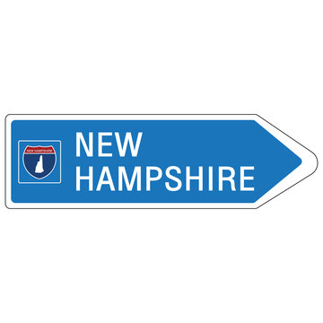 Roadway sign Welcome to Signage on the highway in american style Providing new hampshire