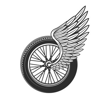 Wheel with wing, racing symbol or tattoo, speedway racing club, car and motorcycle rally races icon. Sport car championship and bike racing speedway cup tournament wheel with feather wing