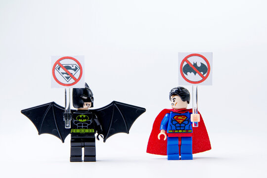 Nonthabure, Thailand - May, 22, 2016 : LEGO minifigure Batman and Superman .The lego Batman and Superman mini figures from movie .Lego is an interlocking brick system collected around the world.