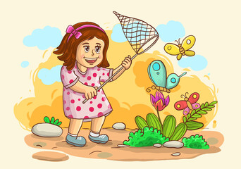 Aluminium Prints Fairytale World illustration of little girl catch a butterfly isolated on nature background with grass, tree, flowers and sky. vector illustration