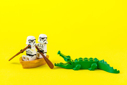 Nonthabure, Thailand - July, 07, 2016: Lego star wars ferried escaped crocodile bite.The lego Star Wars mini figures from movie series.Lego is an interlocking brick system collected around the world.